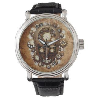 Vintage Grunge Copper Steampunk Clocks Skull Watch