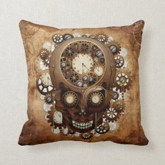 Vintage Grunge Copper Steampunk Skull Cushion
