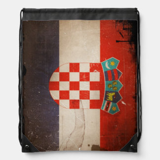 Vintage Grunge Croatia Flag Drawstring Bag