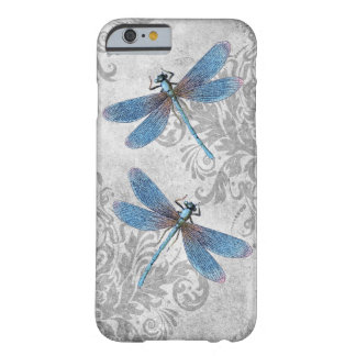 Vintage Grunge Damask Dragonflies Barely There iPhone 6 Case