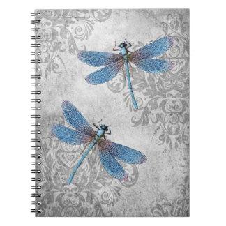 Vintage Grunge Damask Dragonflies Spiral Notebook