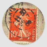 Vintage Grunge Ephemera French Stamp Round Sticker