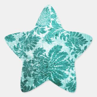 Vintage grunge filigree pattern in teal. star sticker
