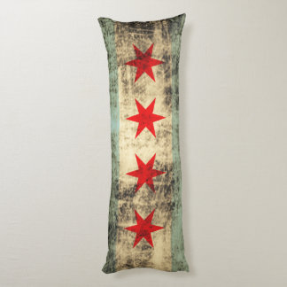Vintage Grunge Flag of Chicago Body Pillow