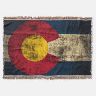 Vintage Grunge Flag of Colorado Throw Blanket