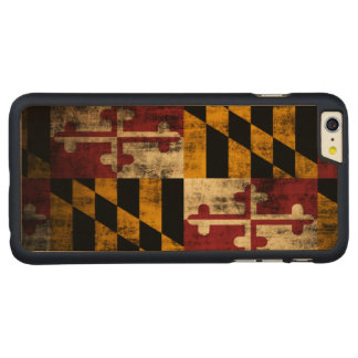 Vintage Grunge Flag of Maryland Carved Maple iPhone 6 Plus Case