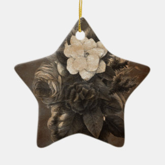 Vintage Grunge Flowers Ceramic Star Decoration