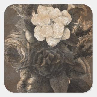 Vintage Grunge Flowers Square Sticker