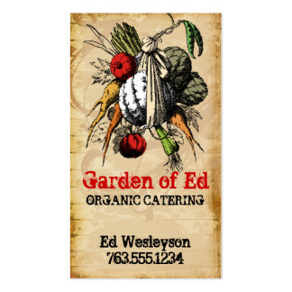 vintage grunge garden vegetable chef catering card pack of standard business cards