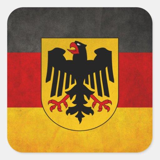 Vintage Grunge Germany Flag Deutschland Flag Square Stickers