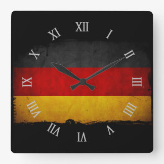 Vintage Grunge Germany Flag Square Wall Clock