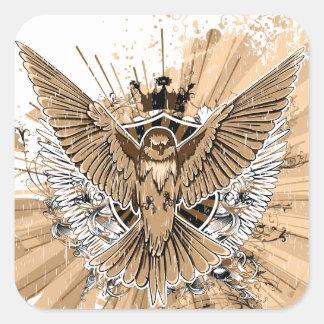 Vintage Grunge Hummingbird Square Stickers Stickers