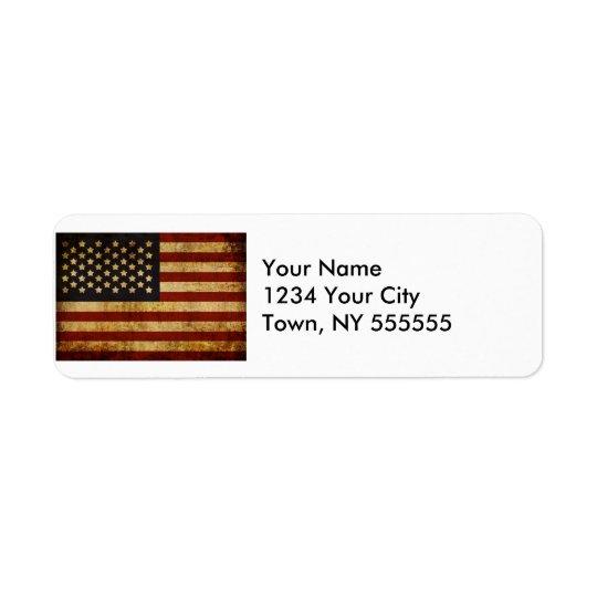 Vintage Grunge Patriotic USA American Flag Return Address Label