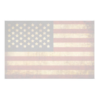 Vintage Grunge Patriotic USA American Flag Customized Stationery