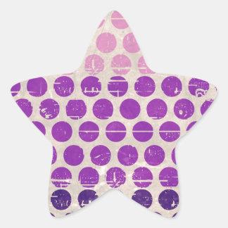 Vintage grunge polka dots purple pink white peach star sticker