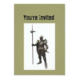 Vintage grunge renaissance medieval Knight 13 Cm X 18 Cm Invitation Card