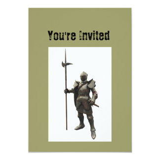 "Vintage grunge renaissance medieval Knight 5"" X 7"" Invitation Card"