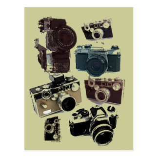 Vintage Grunge Retro Cameras Fashion Postcard