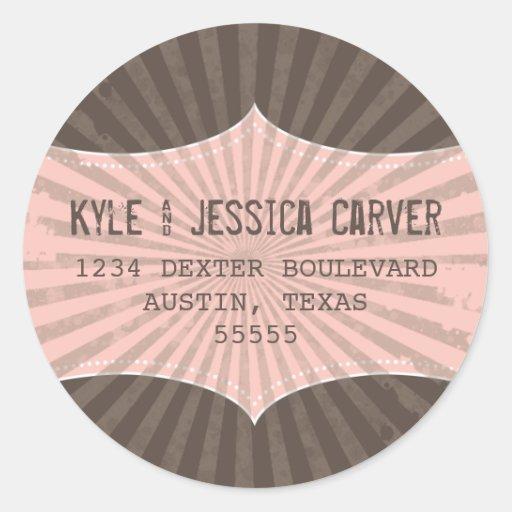 Vintage Grunge Return Address Label Template Round Stickers