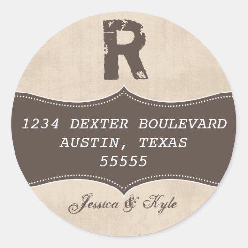 Vintage Grunge Return Address Label Template Stickers