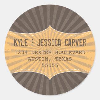 Vintage Grunge Return Address Label Template Round Sticker