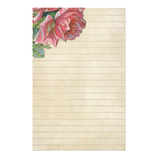 Vintage grunge Rose With Lines Stationery
