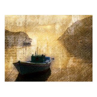 Vintage Grunge Sailboat At Dock Postcards