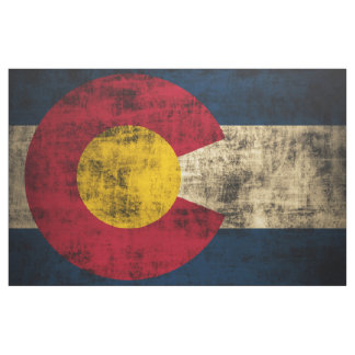 Vintage Grunge State Flag of Colorado Fabric
