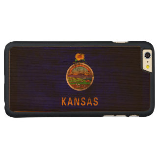 Vintage Grunge State Flag of Kansas Carved Cherry iPhone 6 Plus Case