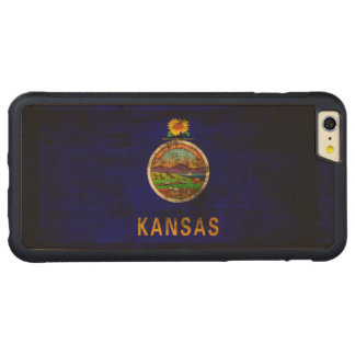 Vintage Grunge State Flag of Kansas Carved Maple iPhone 6 Plus Bumper Case
