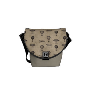 Vintage Grunge Steampunk Airships Pattern Courier Bags