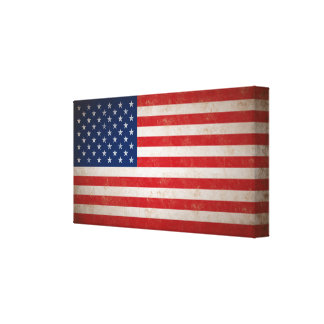 Vintage Grunge Style American Flag Dimensional Art Stretched Canvas Print