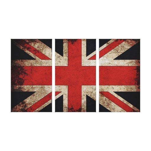 Vintage Grunge UK Flag Stretched Canvas Print