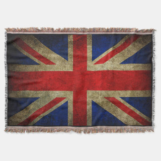 Vintage Grunge UK Flag Throw Blankets