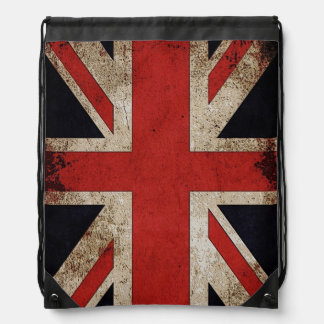 Vintage Grunge UK Union Jack Flag Drawstring Bag
