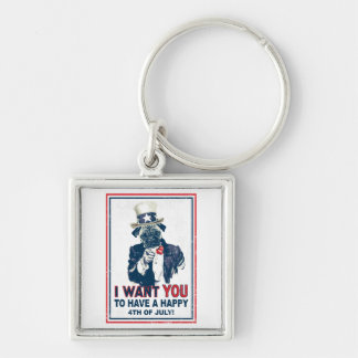 Vintage Grunge Uncle Sam Pug 4th of July Silver-Colored Square Key Ring