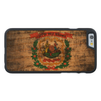 Vintage Grunge West Virginia Flag Carved Cherry iPhone 6 Case
