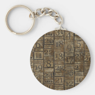 Vintage Grungy Numbers Key Chain