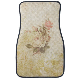 Vintage Grungy Pink and Ivory Roses Floor Mat