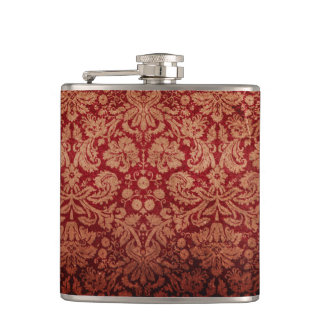 Vintage Grungy Red Damask Hip Flask