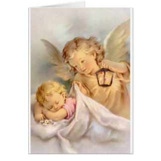 Vintage Guardian Angel And Baby Greeting Card