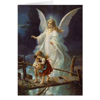 Vintage Guardian Angel and Children Card