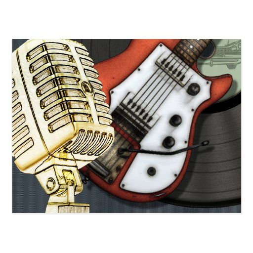 Vintage Guitar and Microphone Postcard
