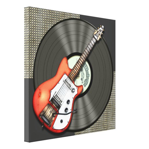 Vintage Guitar and Vinyl Record Design Stretched Canvas Print