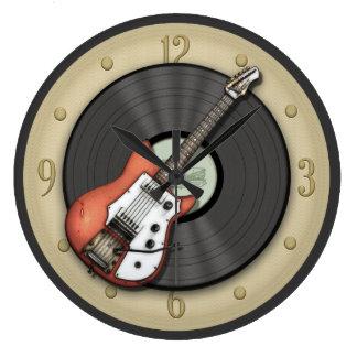 Vintage Guitar and Vinyl Record Wall Clock