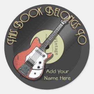 Vintage Guitar Bookplate Classic Round Sticker