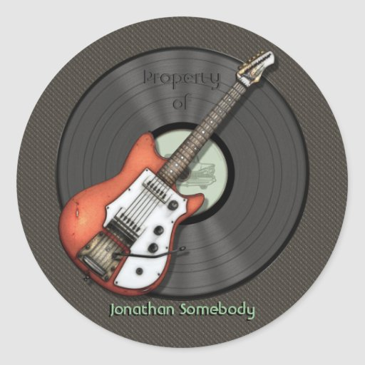 Vintage Guitar Bookplate Stickers
