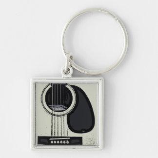 Vintage Guitar Key Ring Silver-Colored Square Key Ring