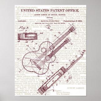 Vintage Guitar Patent Drawing Poster