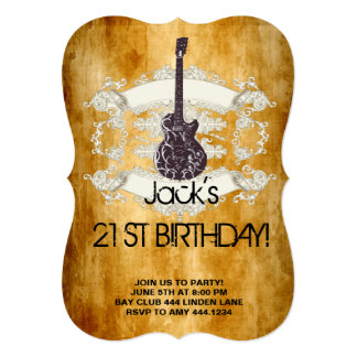 Vintage Guitar Rock Star 21st Birthday Invitations